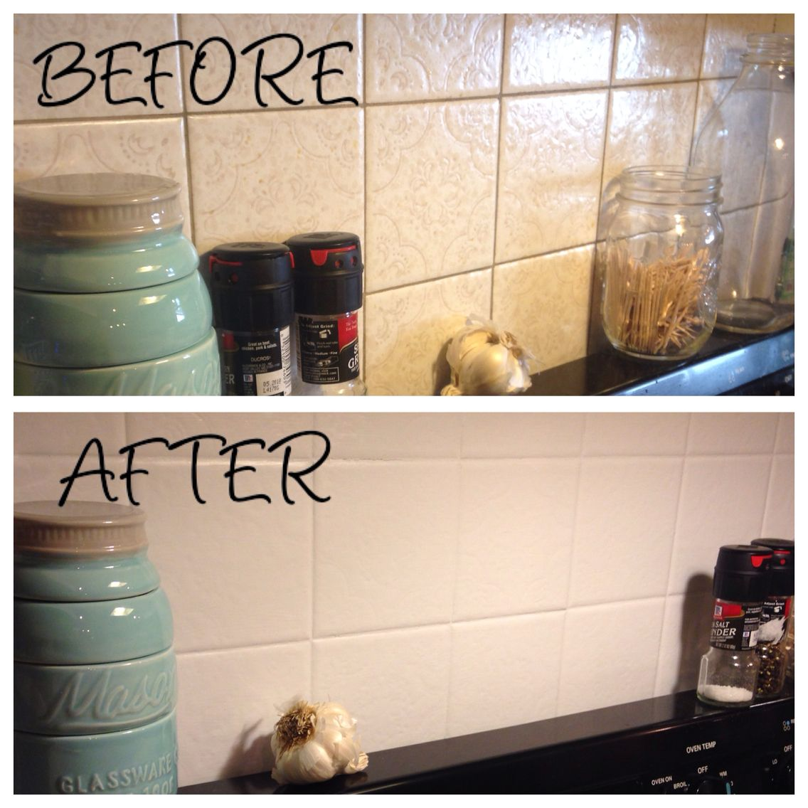Kitchen backsplash painted over ugly old tile using annie - Pintura para pintar azulejos de cocina ...