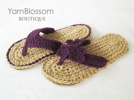 CROCHET PATTERN Indoor/Outdoor Violet Flip Flops (4 sizes included from Womens 3-10) Instant Download