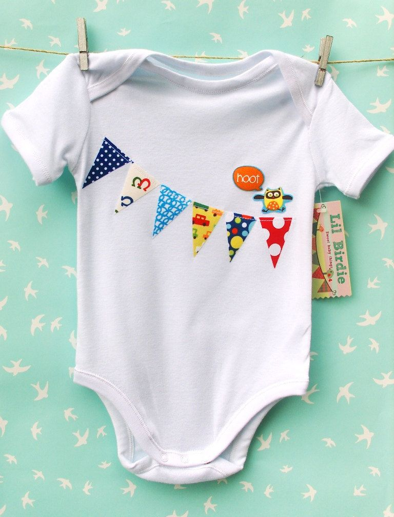 Baby Boy Clothing Onesie Bunting Flags Banner With Hootin Owl