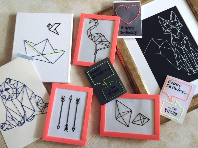 Diy geometrische kunst wandbilder und geburtstagskarten einfach selbst herstellen ideen - Geometrische wandbilder ...