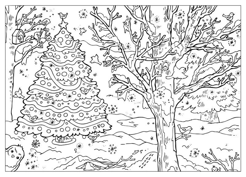 Outdoor Winter Scene Coloring Page For Adults Printable