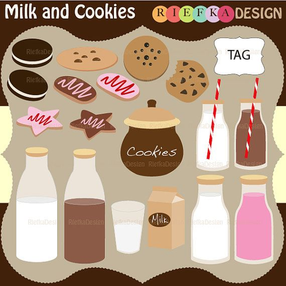 Milk and Cookies Clipart  Set by riefka on Etsy, $6.00
