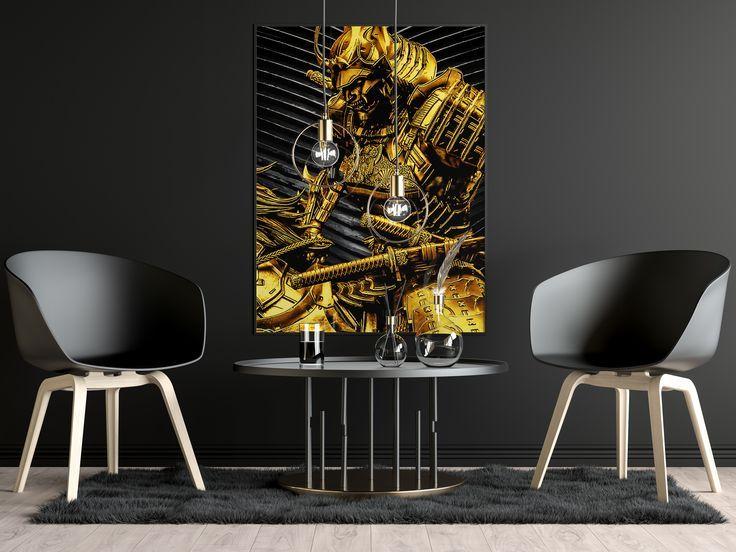 Samurai unique luxury wallart canvas black style karattz thumbnail