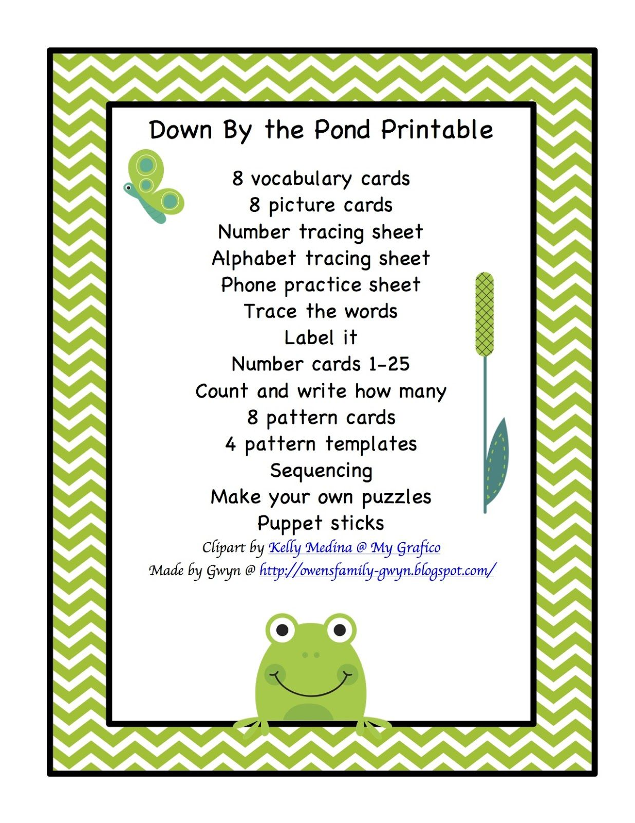 Down By The Pond Printable