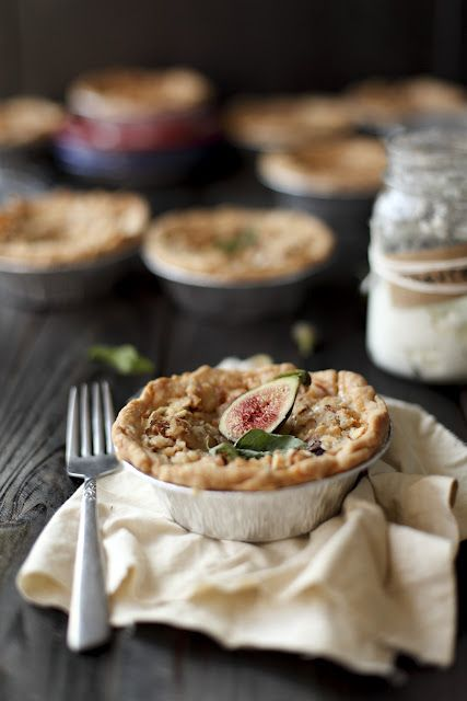 fig goats cheese pie with basil