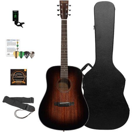 Sigma Guitars Mahogany Dreadnought Acoustic Guitar With Chromacast Hard Case And Accessories Shadowburst Finish M Guitar Acoustic Guitar Best Acoustic Guitar