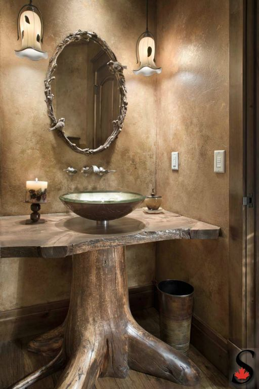Sink Rustic Pedestal Bathroom Via Sitkaloghomes Com A Unique Tree Stump Root Base Is Cert Rustic Bathrooms Architecture Bathroom Rustic Bathroom Designs