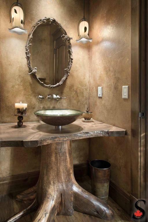 Sink Rustic Pedestal Bathroom Via Sitkaloghomes Com A