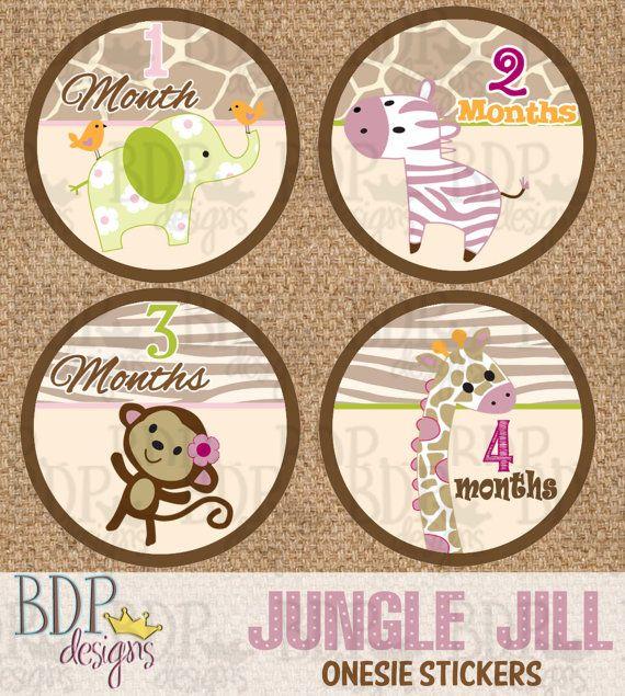 Jungle Jill Onesize Month Stickers 4 Quot Diameter Instant