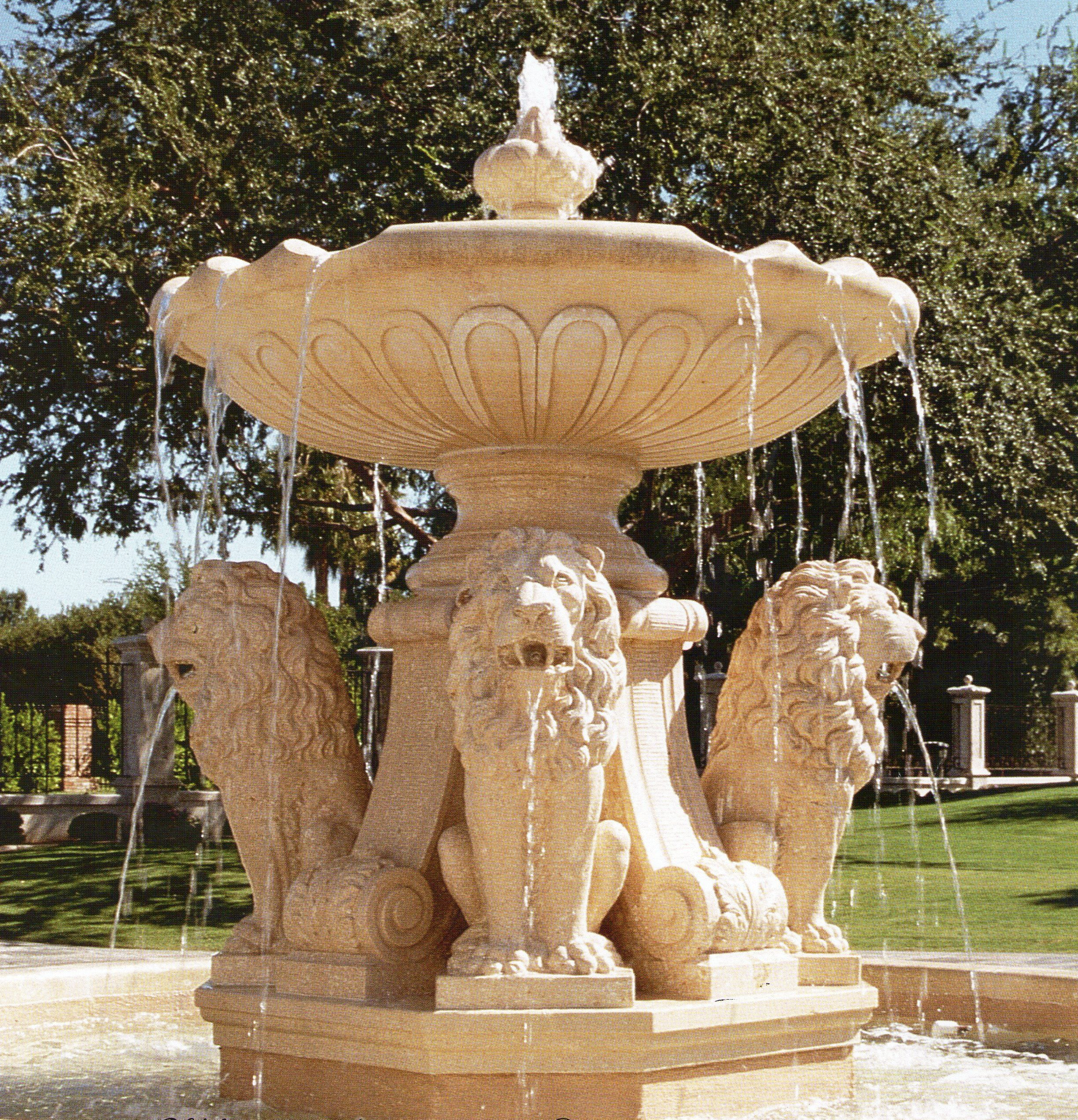 Lions stone fountain model phoenix design by garden for Garden fountains phoenix