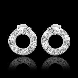 Sweet Carved Round Earrings For Women .