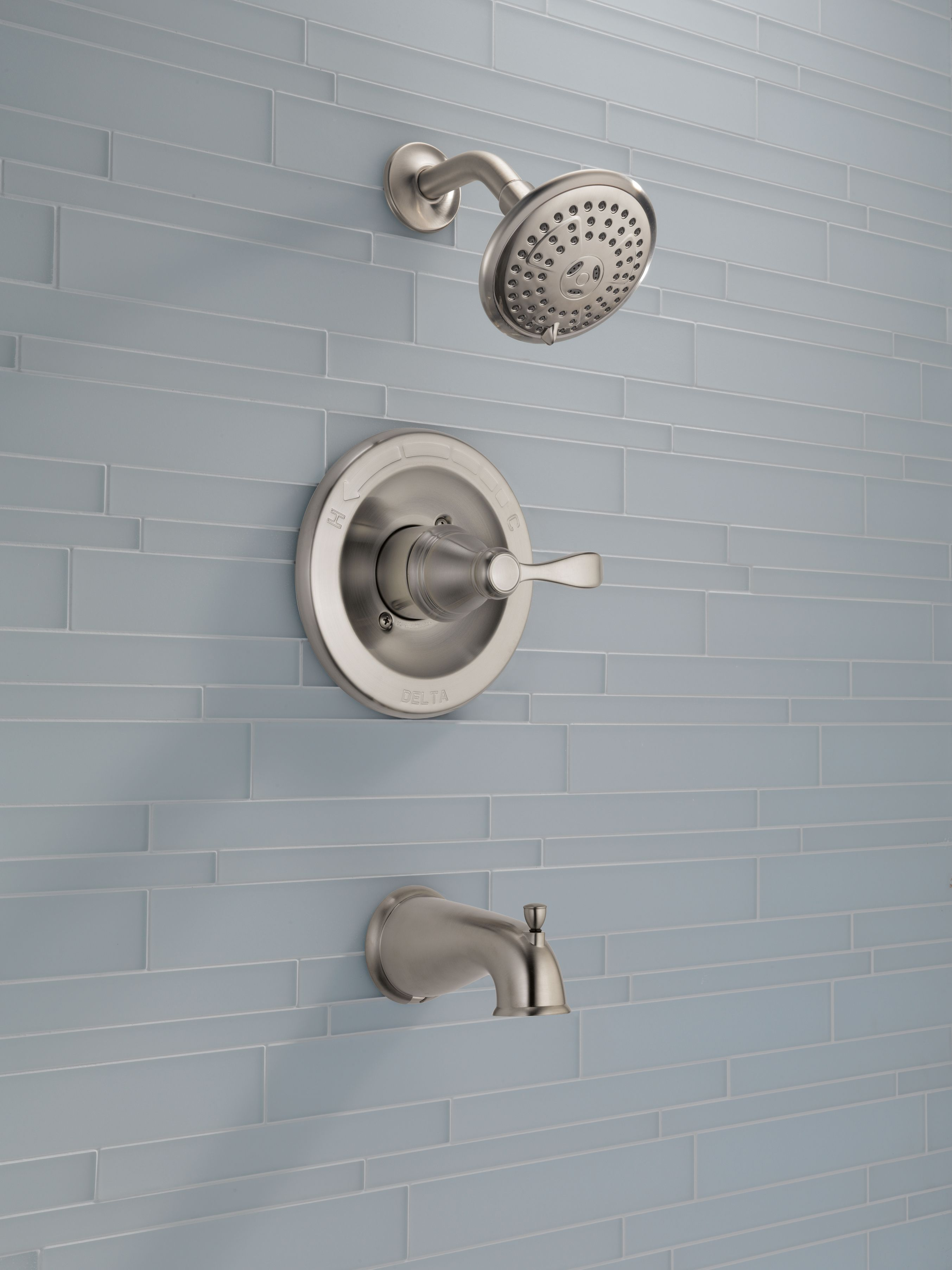 Pale Blue Bathroom Tile Pairs Well With A Brushed Nickel