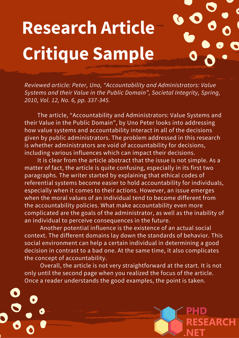 how to critique a scientific research paper