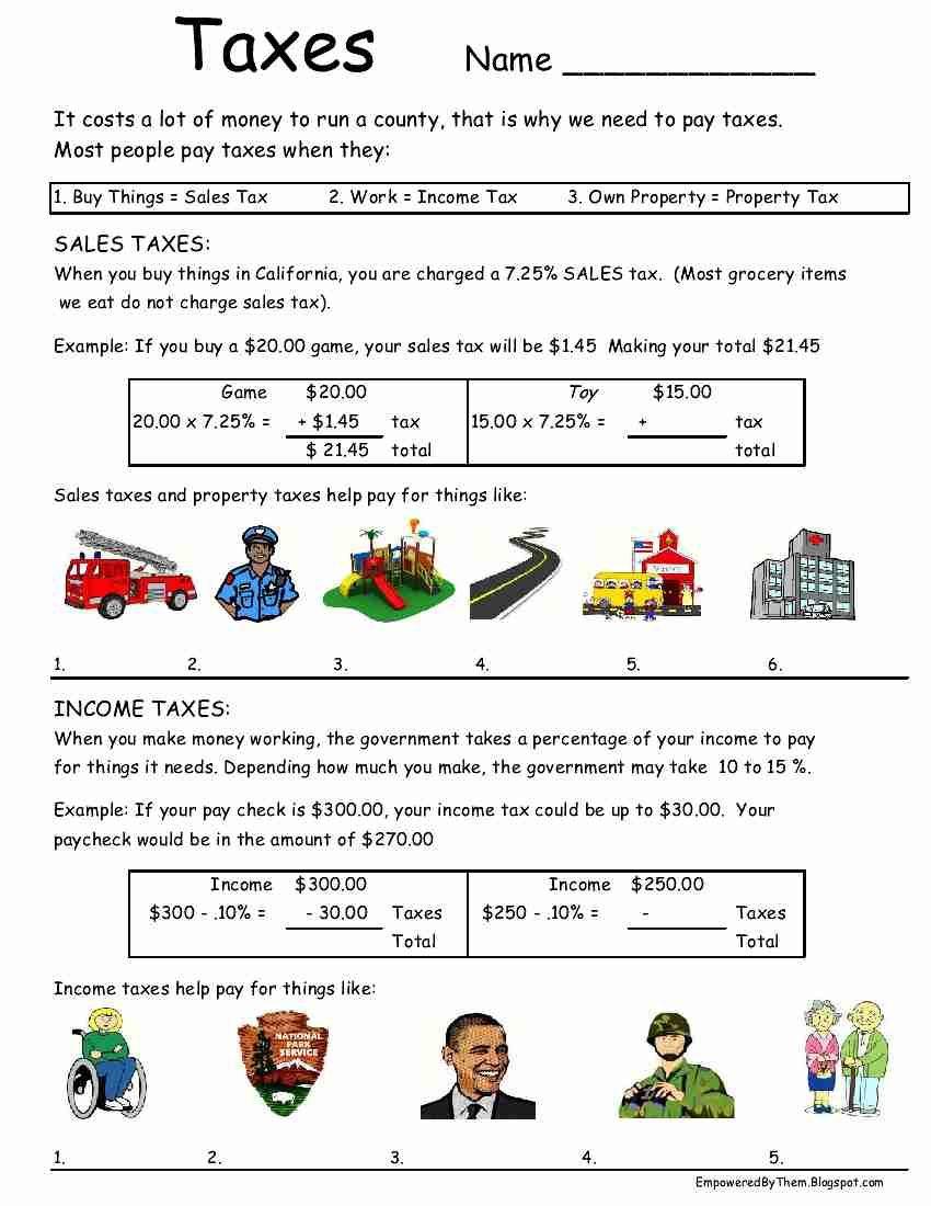 taxes worksheet idea   Teaching life skills [ 1100 x 850 Pixel ]