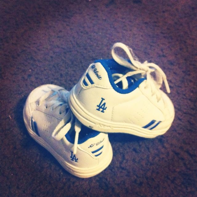 My sons baby dodger shoes! Dodgers Gear ed8ac1c0425
