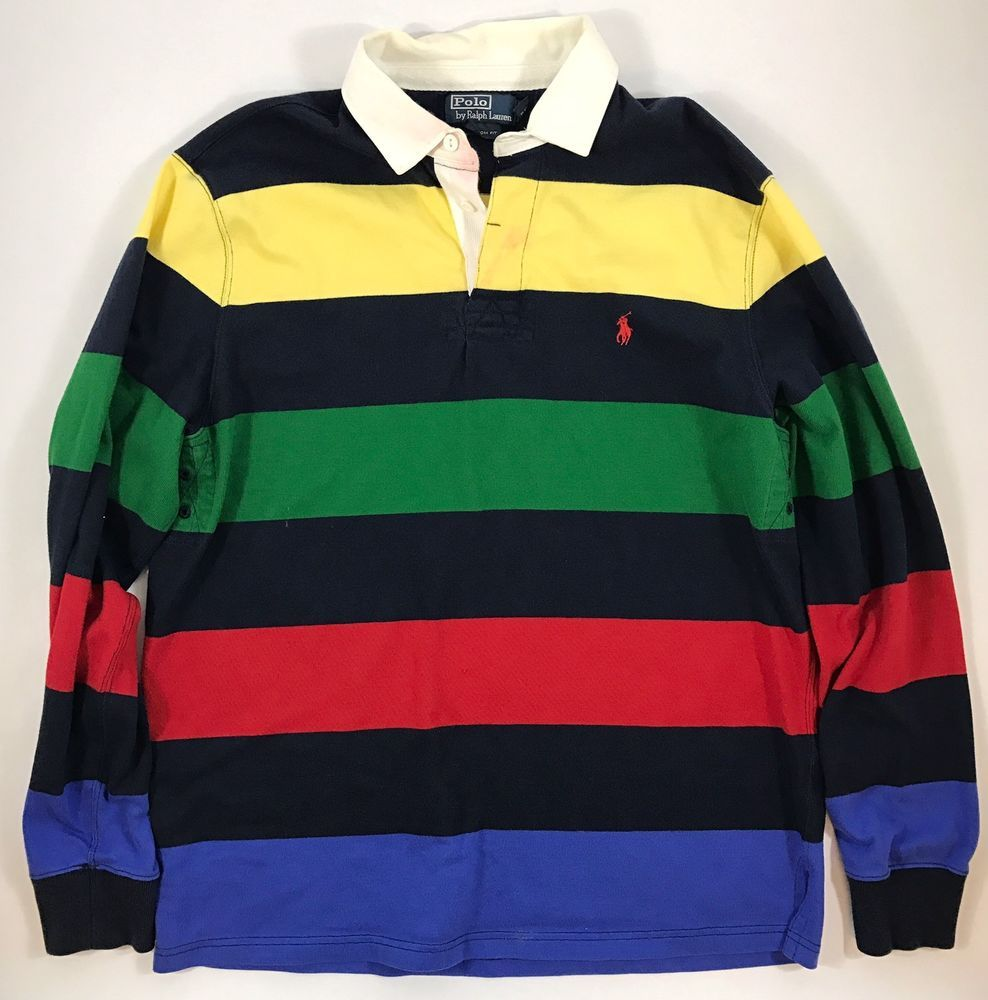 a0cdd562606 POLO RALPH LAUREN MULTI COLORED LONG SLEEVE POLO STRIPPED LARGE   Clothing,  Shoes & Accessories, Men's Clothing, Casual Shirts   eBay!