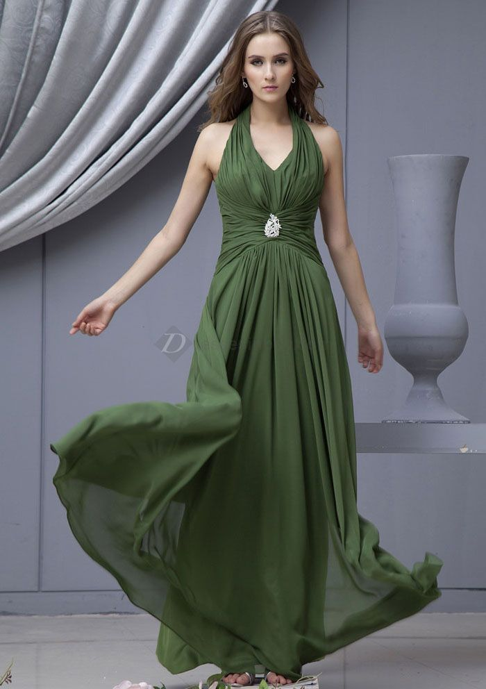 Halter style olive green bridesmaid dress. | Wedding Color Palette ...
