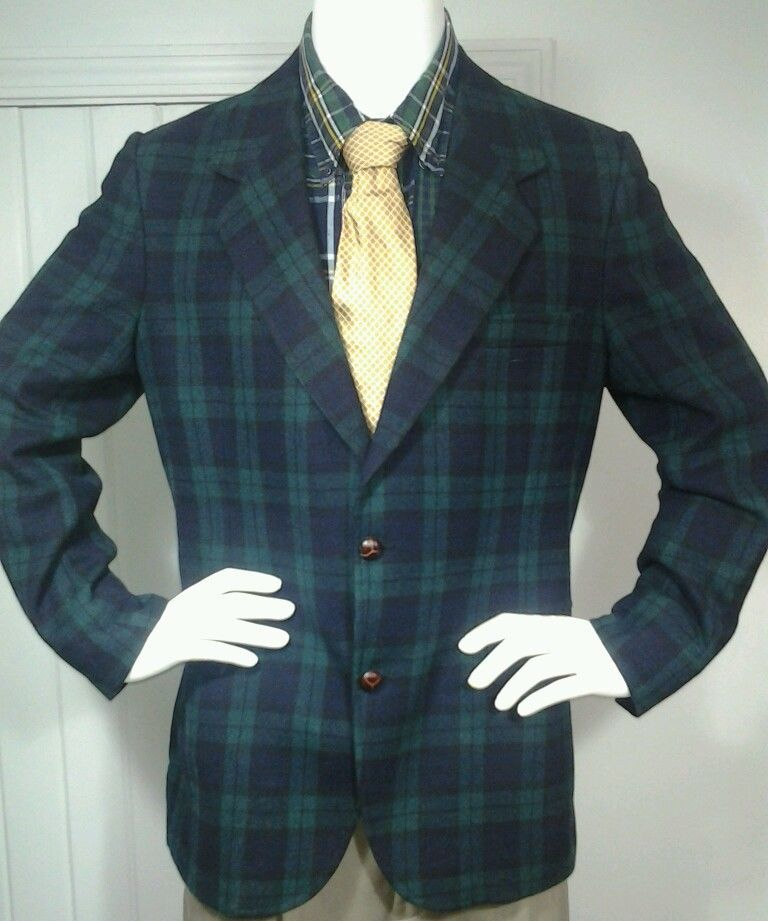 Pendleton Blackwatch Tartan Plaid Black & Green Blazer Wool 2 ...