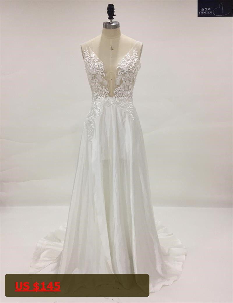 Beach wedding dresses for guest  Custom Made VNeck Appliqued Cutout Sexy Beach Wedding Dresses for