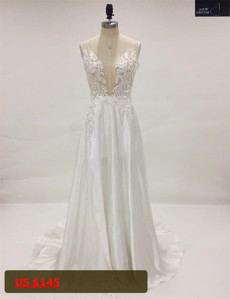 Dress for party wedding  Custom Made VNeck Appliqued Cutout Sexy Beach Wedding Dresses for