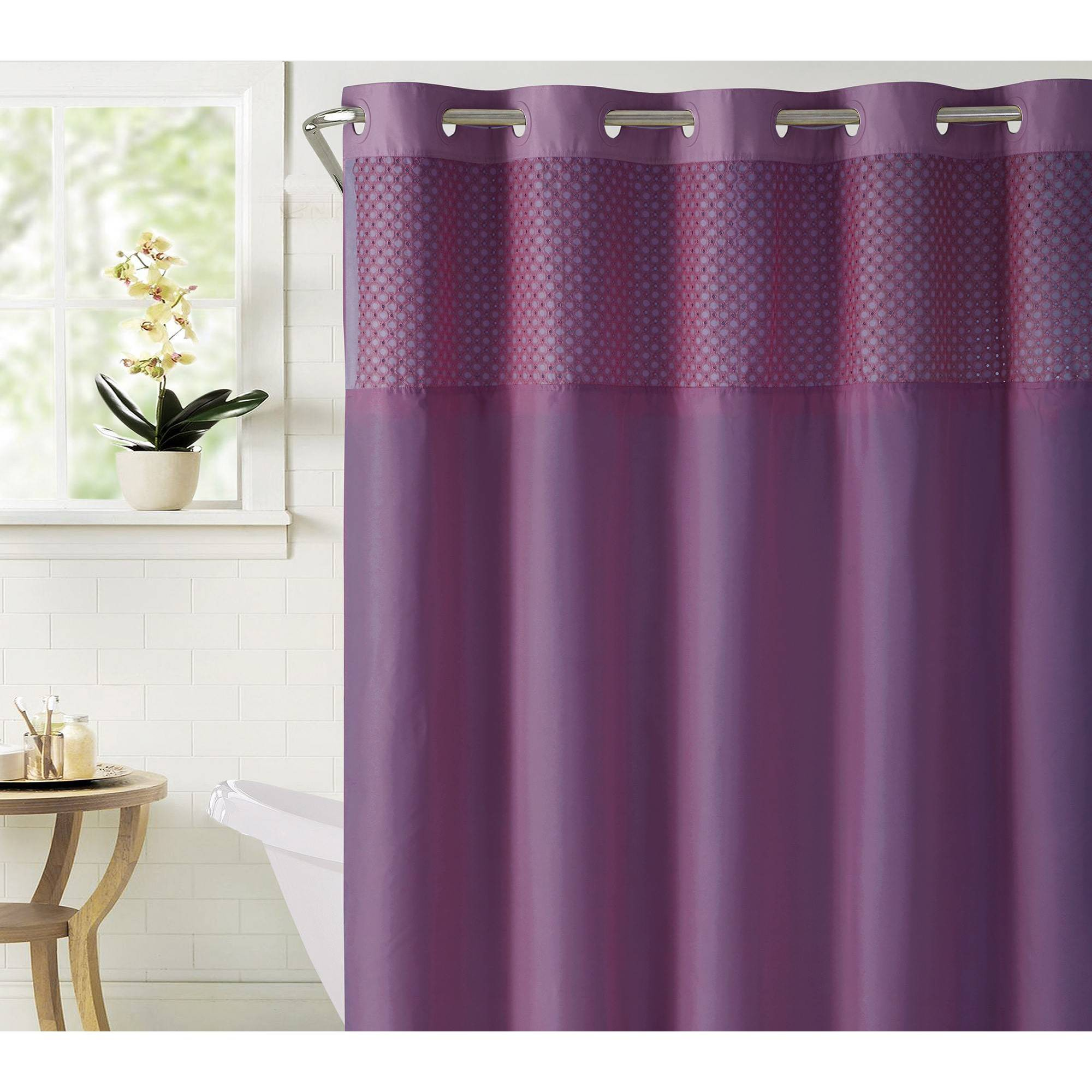 Bahamas Shower Curtain With Liner Eggplant Purple Hookless Curtains Hookless Shower Curtain Eggplant Purple
