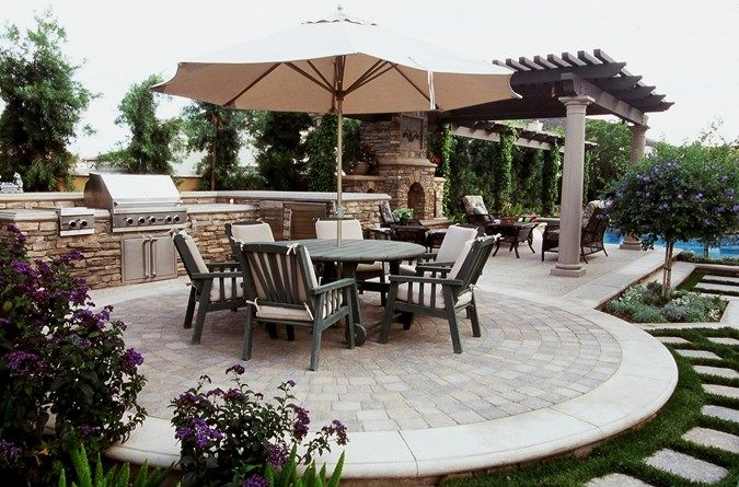 Pretty Patio Kitchen  Outdoor Living Design With A Nice Circular Endearing Patio Kitchen Designs Review