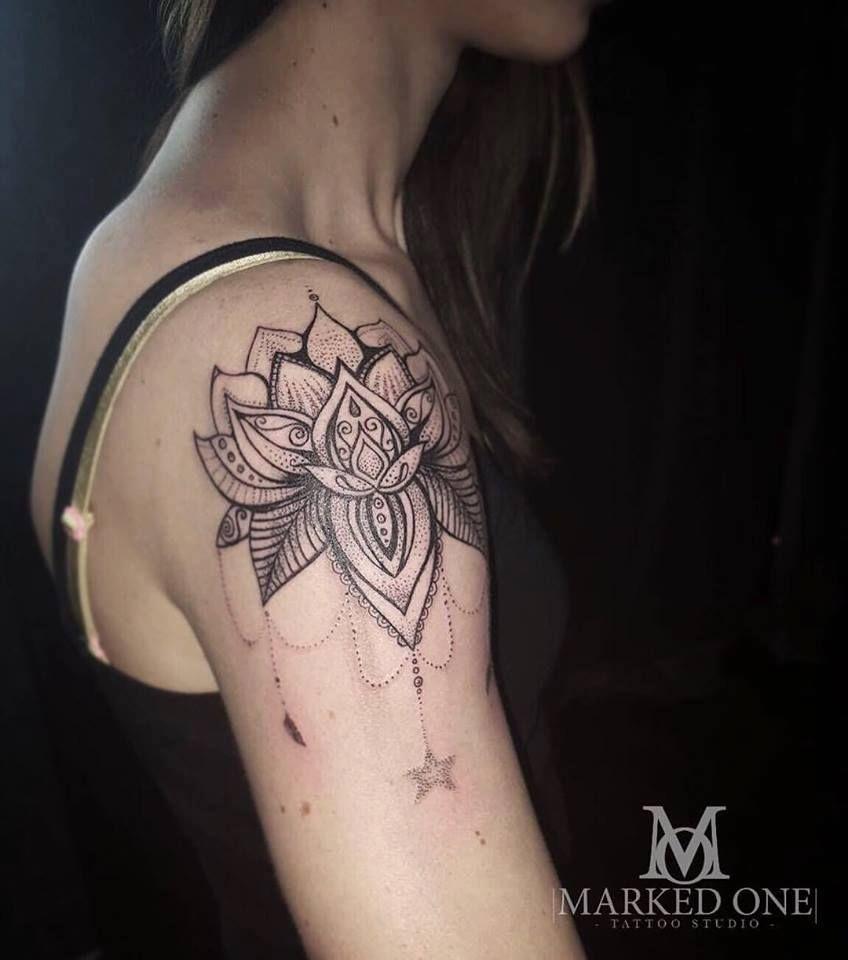 Girly Shoulder Tattoo Mandala Chandelier Style Art Pinterest