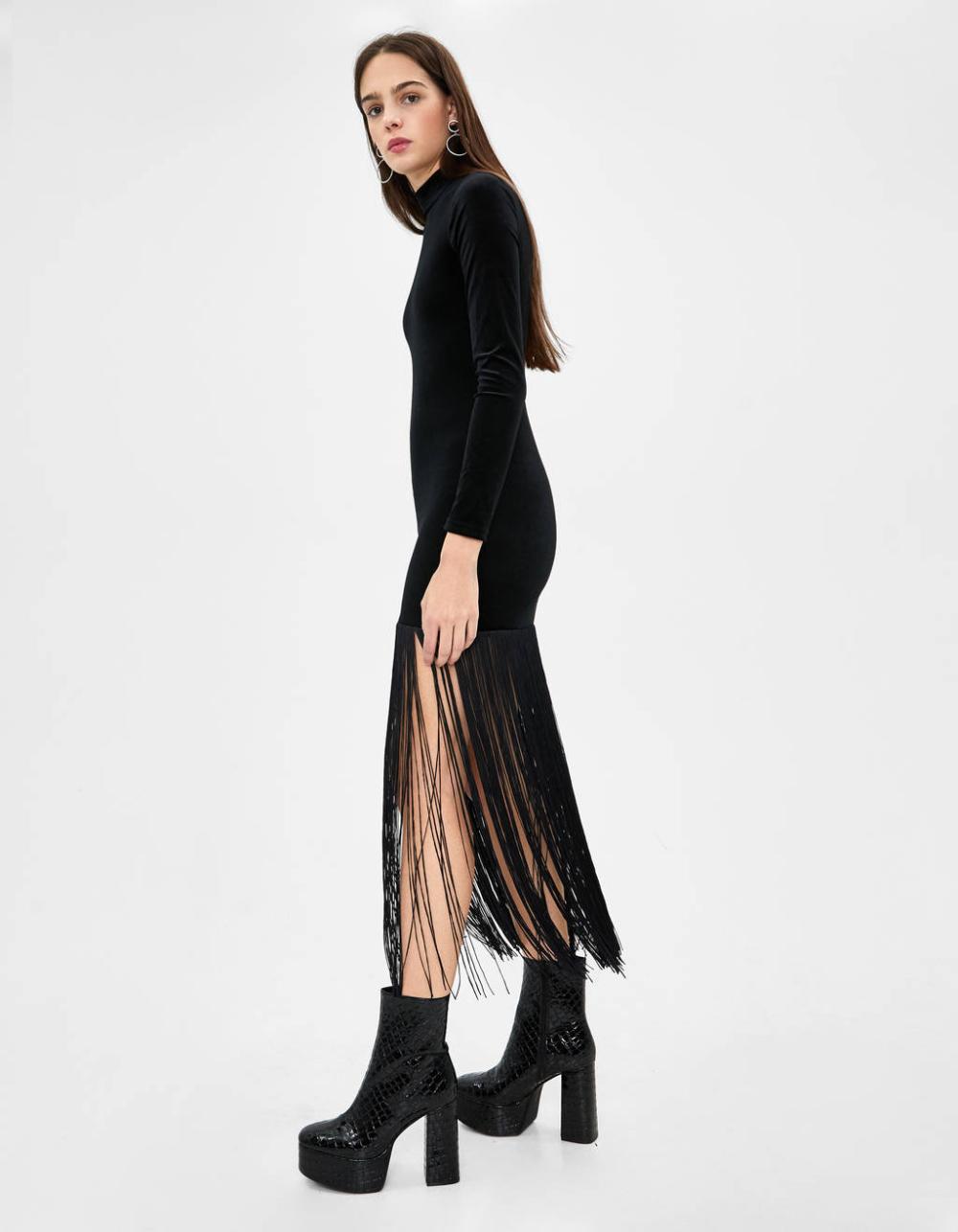 langes kleid mit fransen - neuheiten - bershka germany