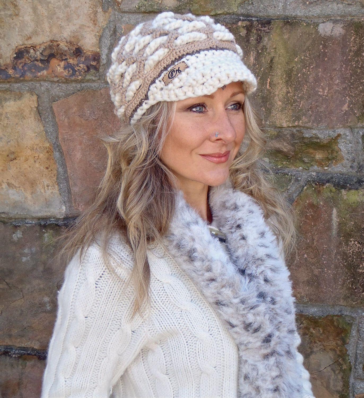 reserved for carmen SNOW QUEEN crochet slouch hat beige white cap ...