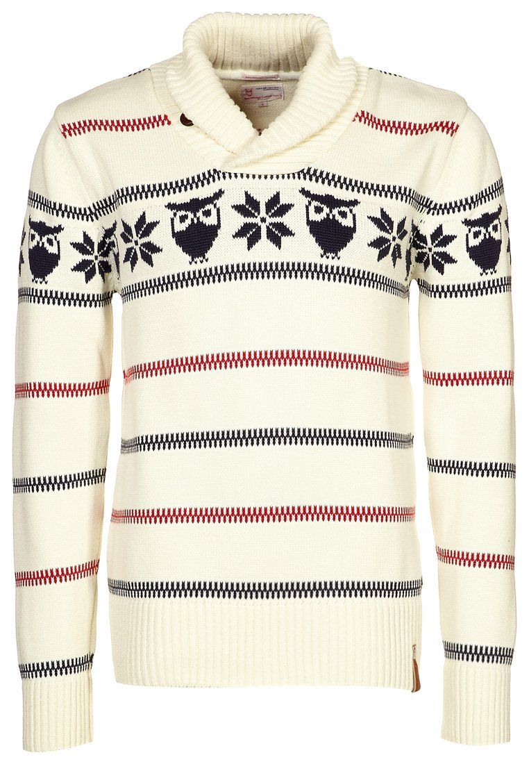 OWL CROSS-NECK KNIT - Sweter - beżowy