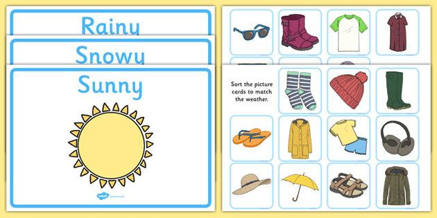 Weather Clothes Sorting Activity - clothes sorting activity ...
