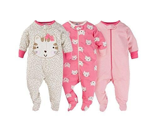 baa17382c7 Gerber Onesies Baby Girl Sleep N Play Sleepers 3 Pack (6-9 Months ...