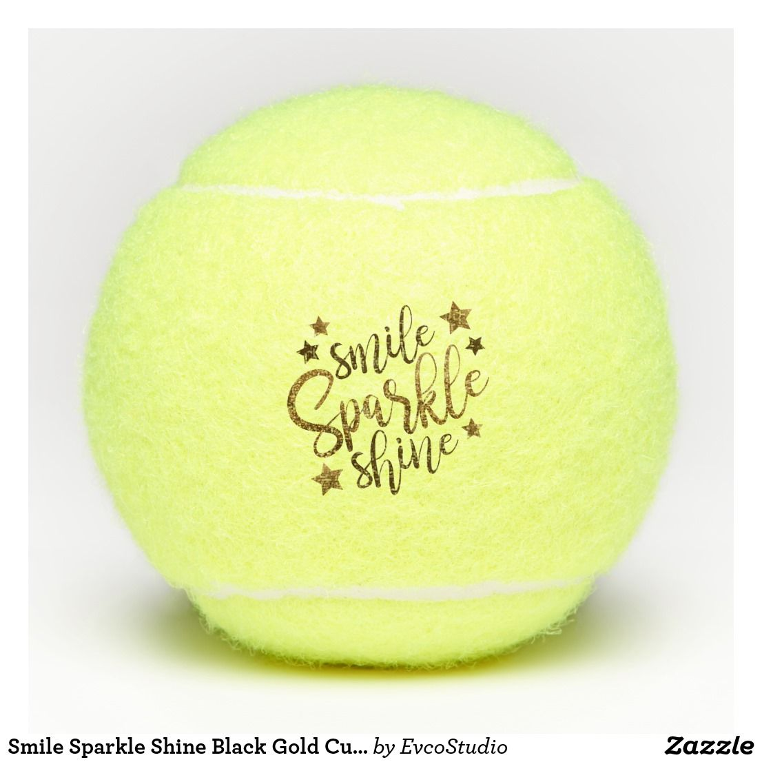 Smile Sparkle Shine Black Gold Custom Tennis Balls Zazzle Com
