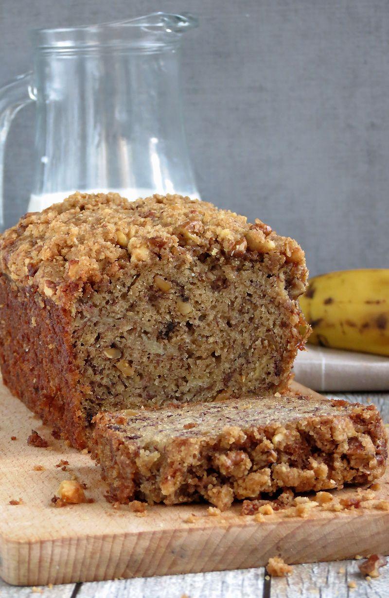 Moist Banana Bread W Crunchy Streusel Topping Recipe Super Moist Banana Bread Moist Banana Bread Banana Nut Bread