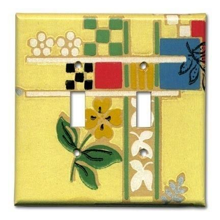 Yellow Floral 1930's Vintage Wallpaper Double Switch by Fondue, $16.00