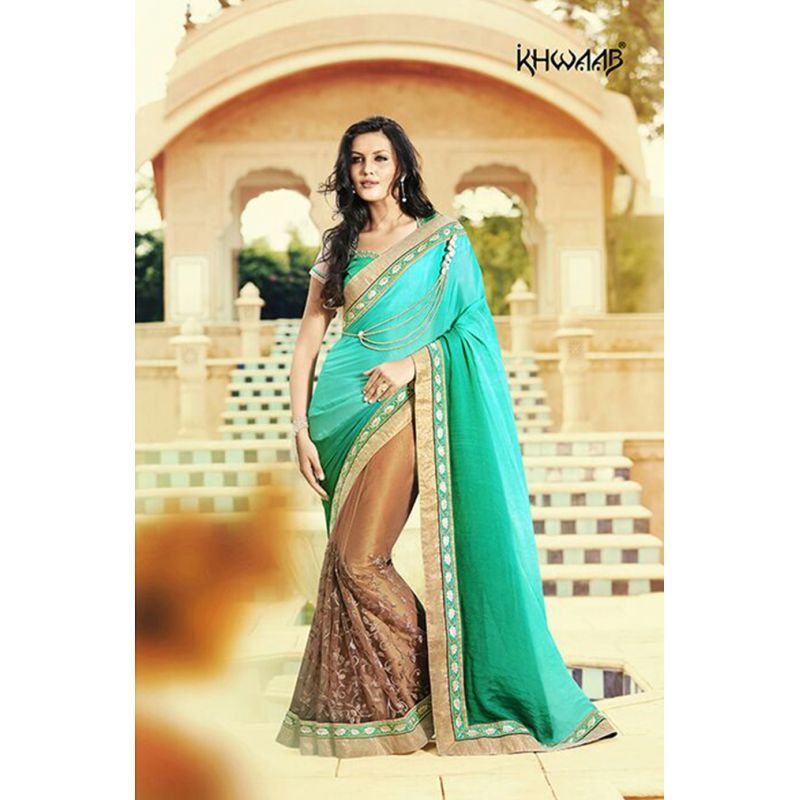 AMAZING BROWN AND SEA GREEN SATIN CHIFFON NET HALF AN HALF SAREE - KHWAAB ANMOL FASHIONS - 044