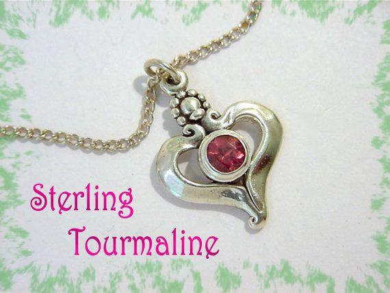 Rick Mahonski ~ I Give You My Heart  ~ Sterling Silver & Tourmaline Heart Pendant Necklace  @@ FREE SHIPPING @@
