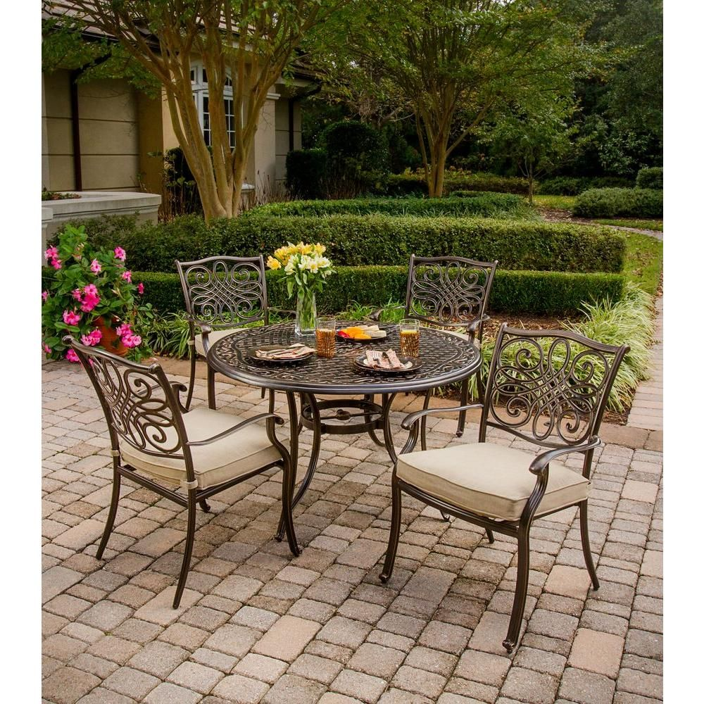 outdoor dining sets for 4 better homes and gardens hanover traditions 5piece patio outdoor dining set with 4cast aluminum chairs and 48 in round table