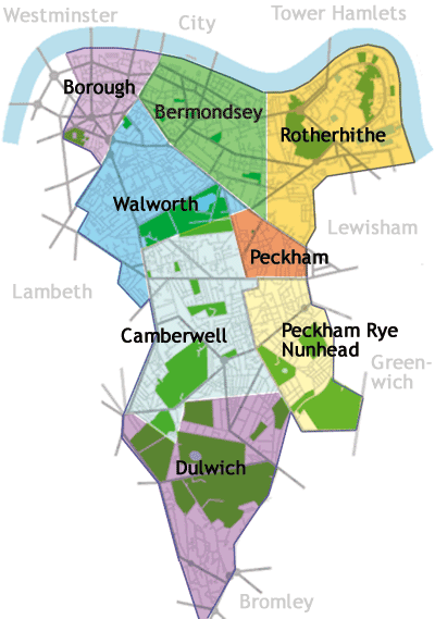 London Map Districts.Breakdown Of The Districts In The London Borough Of Southwark