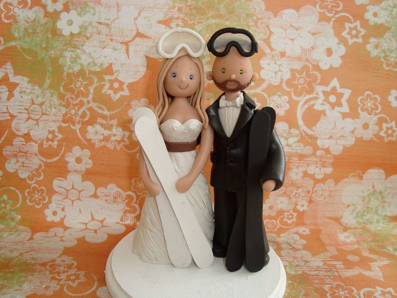 Custom Made Bride And Groom Ski Theme Wedding Cake Topper