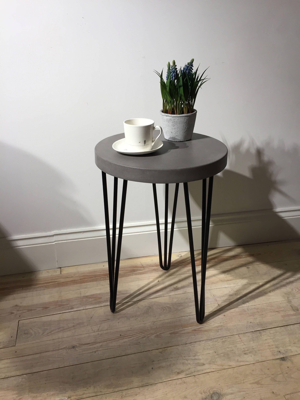 Light Grey Bedside Table: Concrete Industrial Bedside/ Side Table In Cool Grey