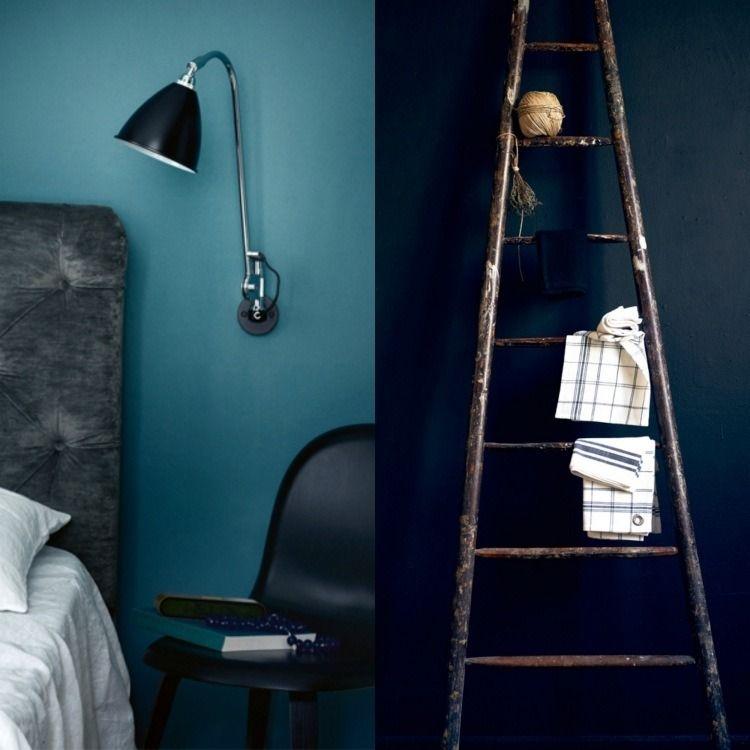couleur de peinture bleu pétrole, applique murale et échelle en bois - Couleur Actuelle Pour Chambre