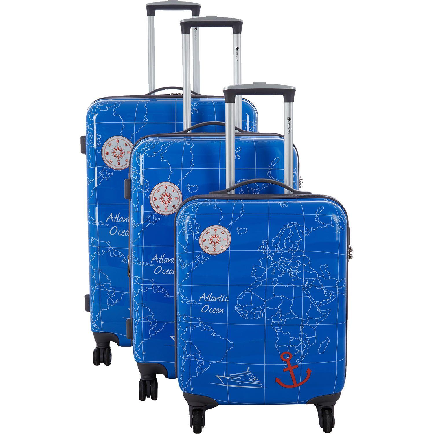 Check in medium blue map print suitcase tk maxx luggage pinterest suitcase and printing Tk maxx home bedroom furniture