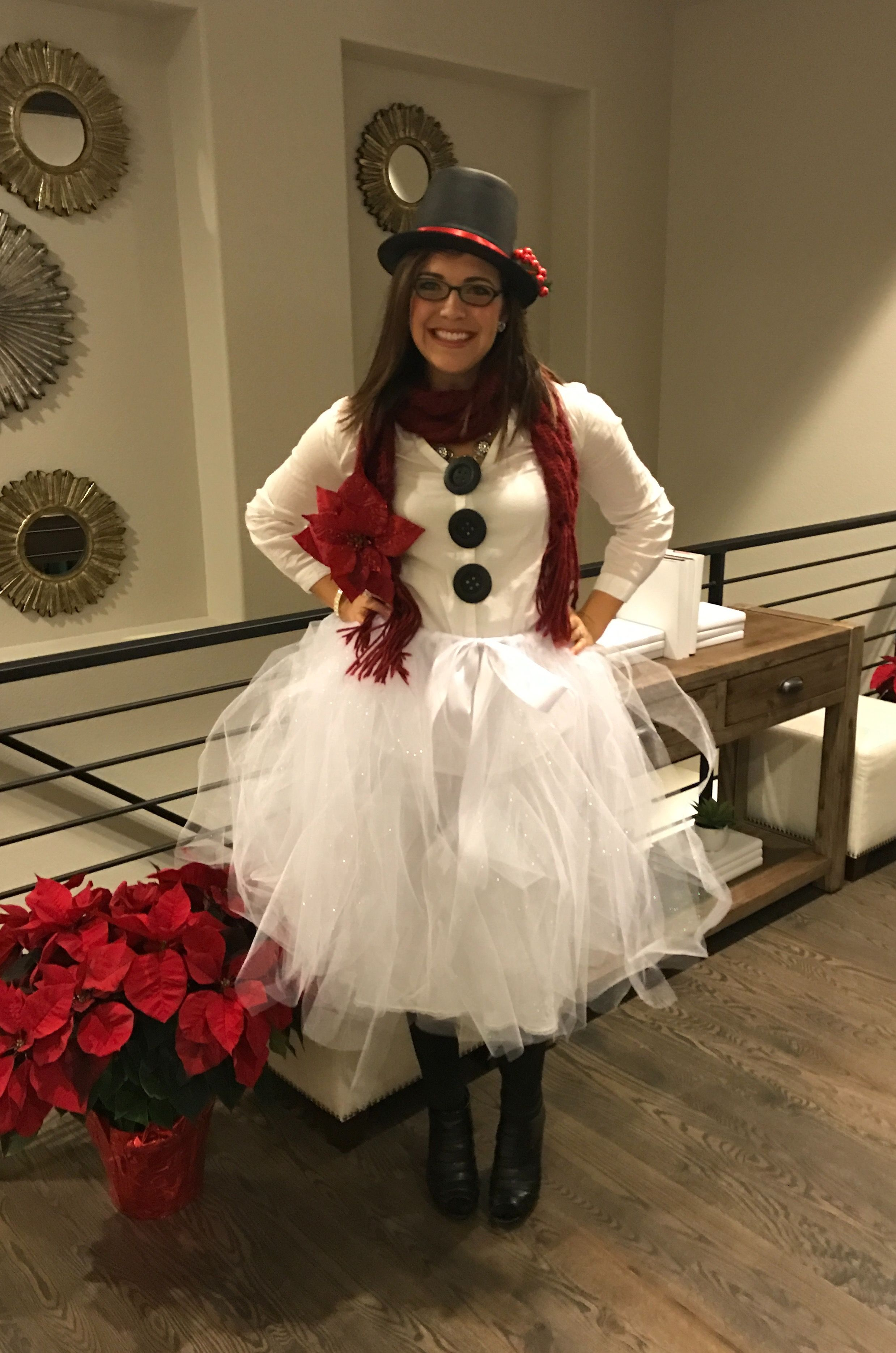 Christmas Costume Party. Homemade Snowman. Snow-woman