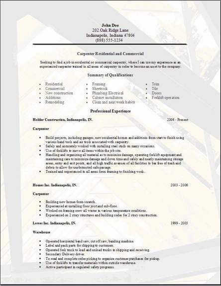 Carpenter Resume Examples Samples Free Edit With Word Resume Examples Cover Letter For Resume Sample Resume