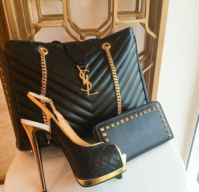 YSL - Yves Saint Laurent ~ Quilted Black Leather Slingback Stiletto + Black  Leather Handbag w Gold Chain 2913ec6d66c25