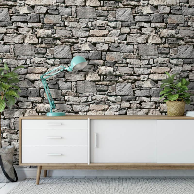 Muriva Natural Stone Wall 3d Effect Grey Wallpaper 318759 Grey Wallpaper Natural Stone Wall Contemporary Wallpaper Designs