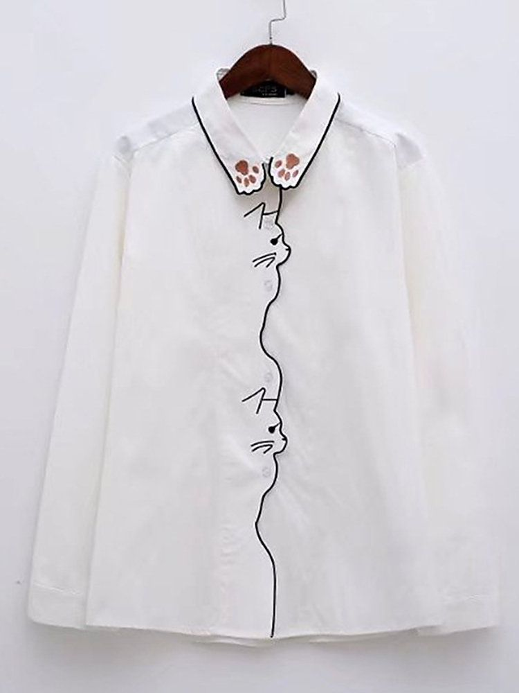 79a44eba8 Casual Women Embroidery Cat Turn-down Collar Long Sleeve Shirt ...