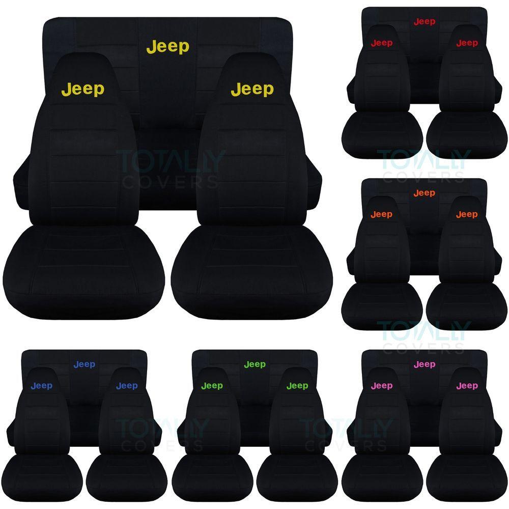 Jeep Wrangler Yj Tj Jk 1987 2017 Black Seat Covers W Logo Front