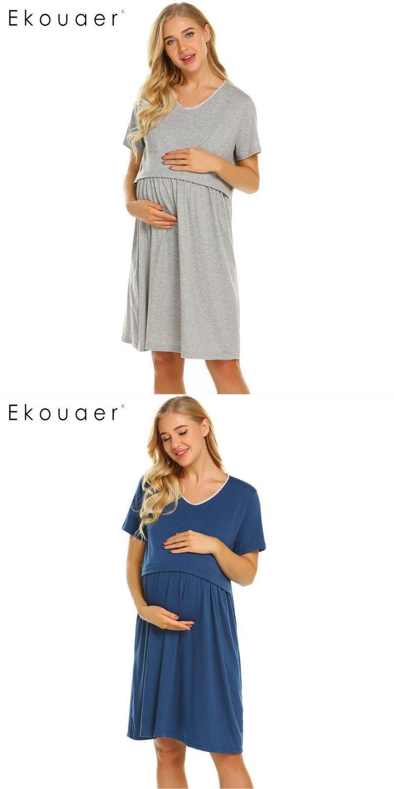 5808c842487 Women nightgowns soft cotton sleepwear dress casual short sleeve two layers maternity  nursing breastfeeding nightdress